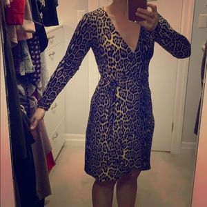 BCBG true leopard wrap dress size small